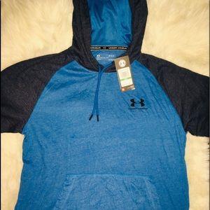 Under Armour Blue men's short sleev hoodie LG & XL